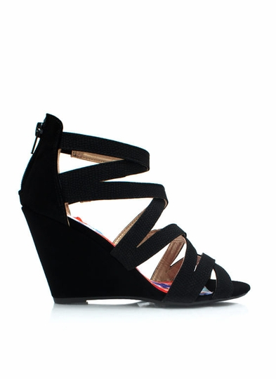 Reptile Crossing Strappy Wedges