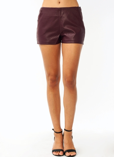 Reptilian Faux Leather Shorts