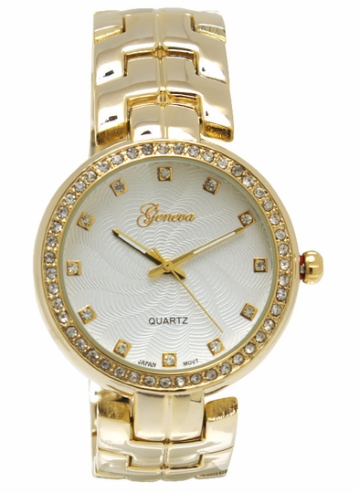 Rhinestone Trim Boyfriend Watch
