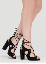 Riding Waves Chunky Lace-Up Heels