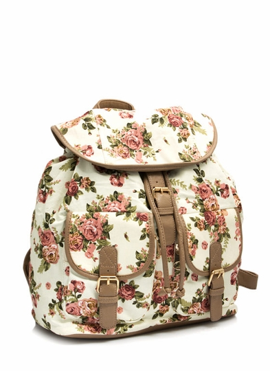 Roses Are Ready Canvas Backpack