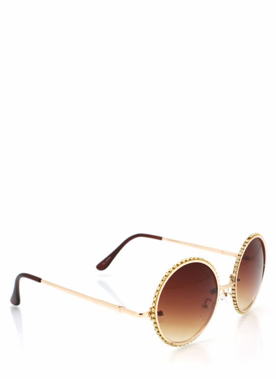 New Accessories: Round Rhinestone Trim Sunglasses
