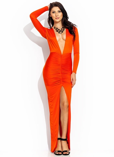 Ruche Hour Plunging Maxi Dress