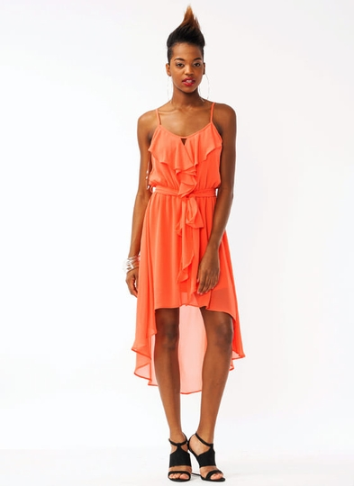 Ruffled Georgette High-Low Dress
