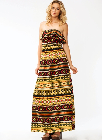 Ruffled Southwest Maxi Dress