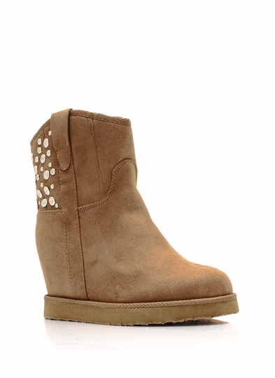 Run In Circles Studded Wedge Booties