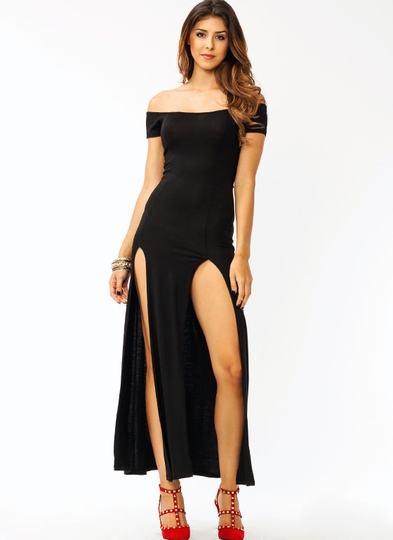 Sassy Double Slit Maxi Dress