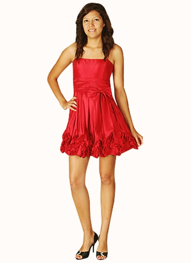 Satin Bow Ruffle Pleated Formal Dress