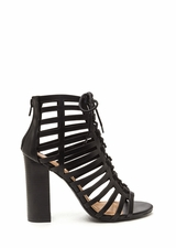 Saucy Girl Chunky Caged Lace-Up Heels
