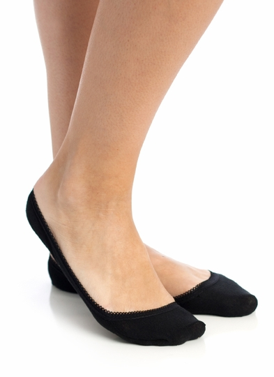 Scalloped Trim Footie Socks