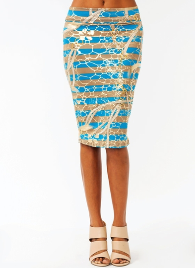 Scarf Print Pencil Skirt
