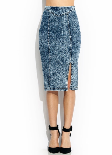Seamed Acid Wash Pencil Skirt