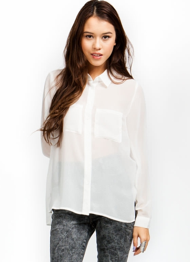 Semi-Sheer Button-Up Blouse