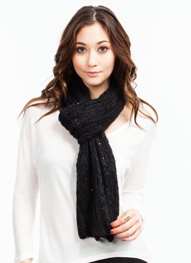 Sequin Adorned Knit Scarf