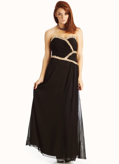 Sequin Embellished Strapless Formal
