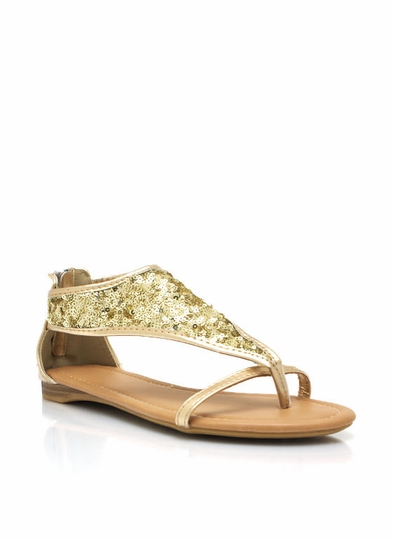 Sequined Metallic Sandals