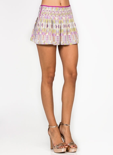 Sequined Printed Shorts