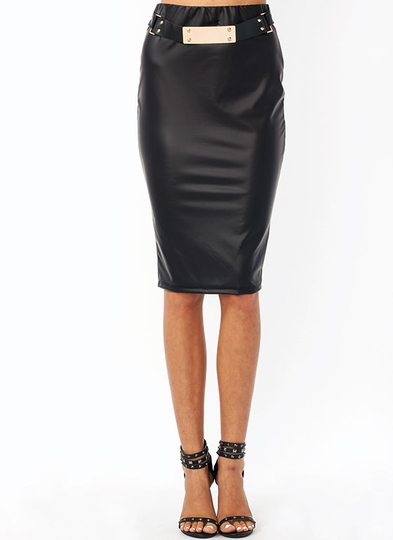 Sexy Back Belted Pencil Skirt