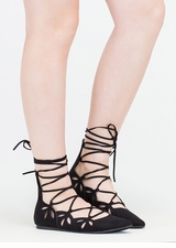 Share The Love Lace-Up Cut-Out Flats