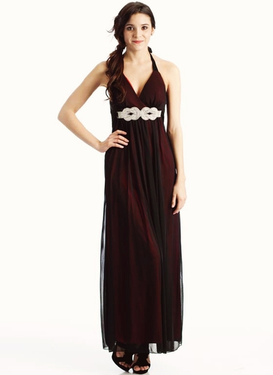 Sheer Rhinestone Link Tie Back Halter Dress