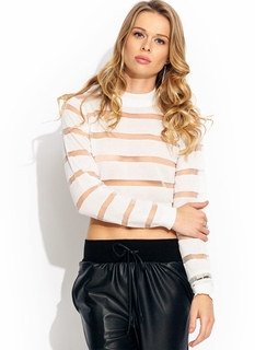 Sheer Stripe Mockneck Sweater