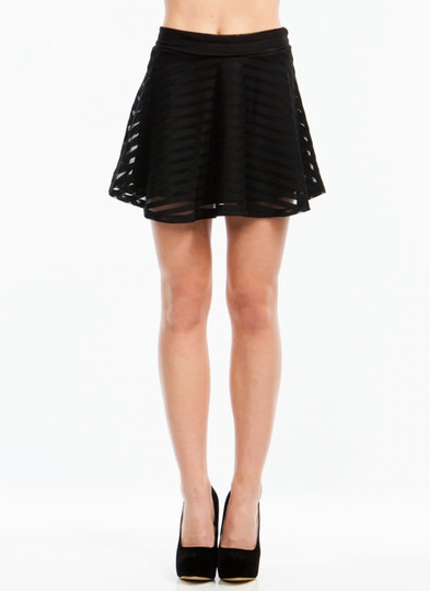 Sheer Ya Go Mesh Stripe Skater Skirt
