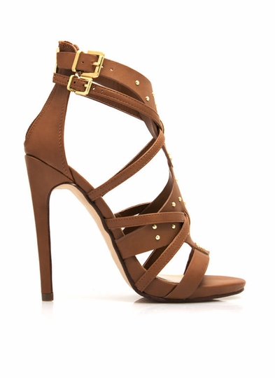 Shield Up Strappy Studded Heels