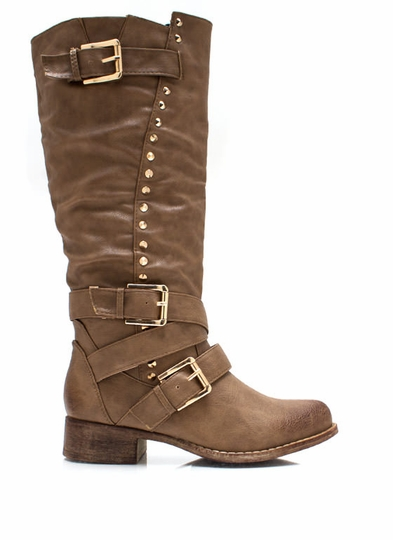 Shift Gears Studded Buckle Boots
