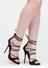 Shopping Spree Faux Suede Lace-Up Heels