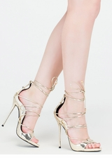 Shopping Spree Scaled Lace-Up Heels