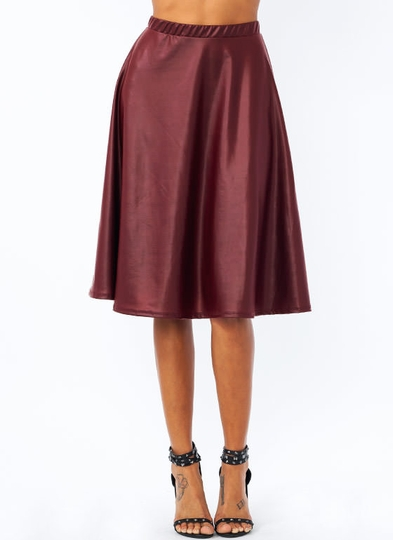 Show Some Flare Faux Leather Skirt