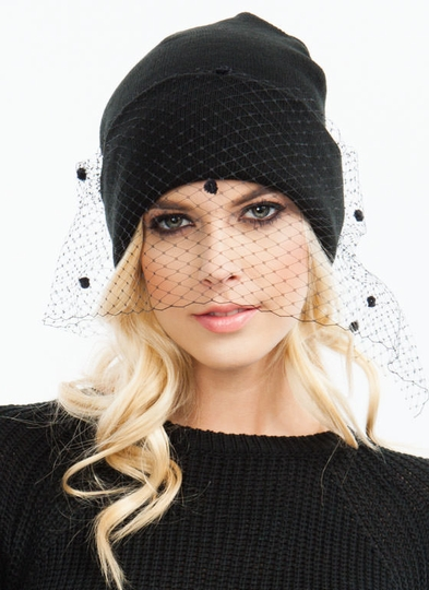 Show Your Pom-Poms Veiled Beanie