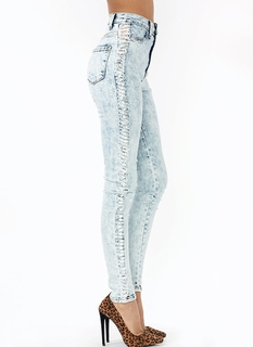 Shredded Stripe Acid Wash Jeans