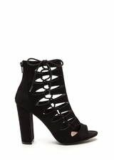 Side Chick Laced-Up Faux Suede Booties