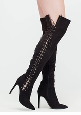 Sidekick Pointy Laced Thigh-High Boots