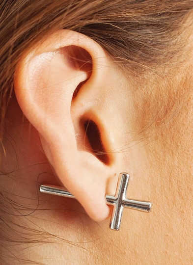 Sideways Cross Earrings