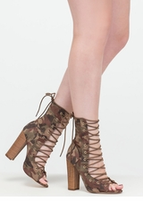 Simply Bootie-ful Lace-Up Camo Heels