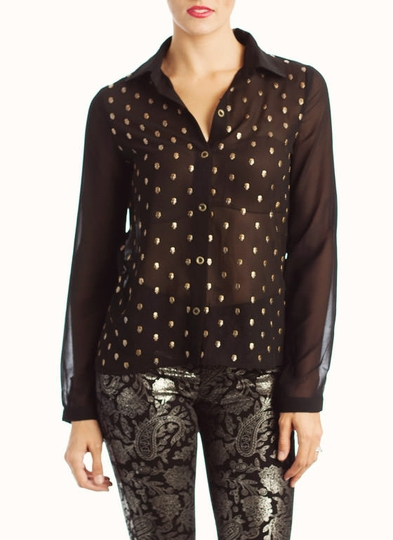 Skull Studded Button-Up Blouse