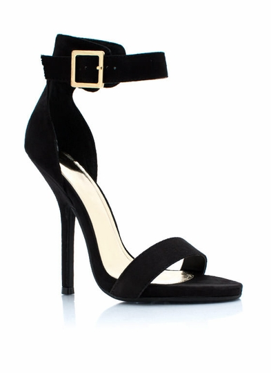 Sleek Peek Faux Suede Heels