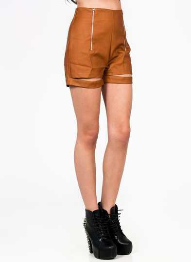 Slit-Hem Faux Leather Shorts