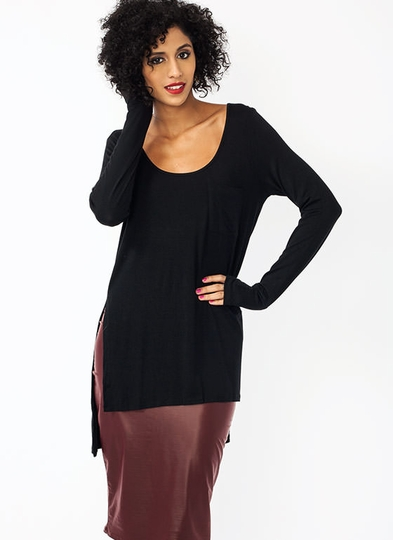 Slit High-Low Pocket Top