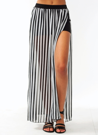 Slit Striped Maxi Skirt