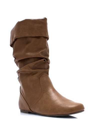 Slouchy Faux Leather Boots