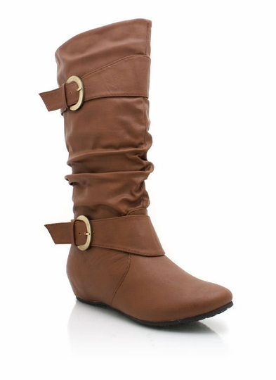 Slouchy Faux Leather Hidden Wedge Boot