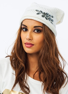 Slouchy Jeweled Cable Knit Beanie
