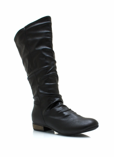 Slouchy Pebbled Faux Leather Boots