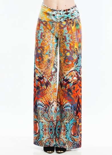 Snake Things Up Mixed Palazzo Pants