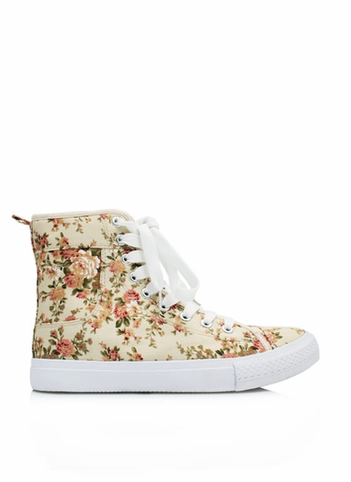 Floral High-Top Sneakers