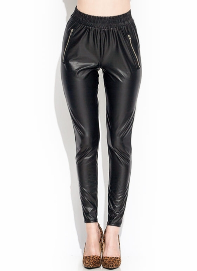 So Slick Zipper Jogger Leggings