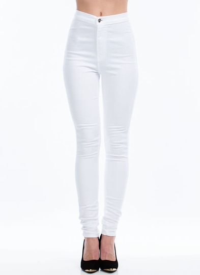White High Waisted Skinny Jeans Pictures to Pin on Pinterest ...